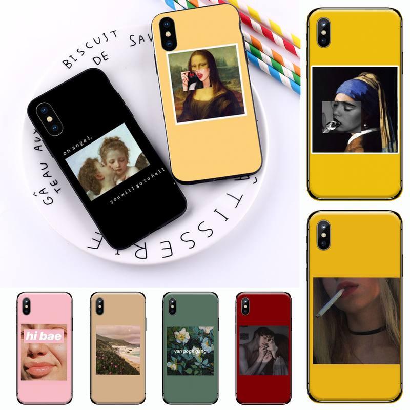 van Gogh Mona Lisa Angel Great art aesthetic Phone Case for iPhone 11 12 mini pro XS MAX 8 7 6 6S Plus X 5S SE 2020 XR
