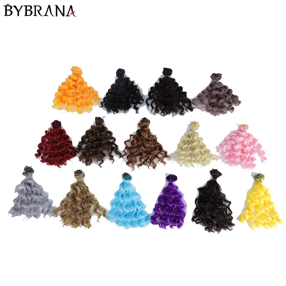Bybrana BJD DIY wigs 15cm*100CM Black Gold Brown Silver Color Short curly Hair for 1/3 1/4 1/6 dolls