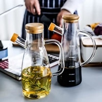 glass oil bottle high temperature resistant and leak proof with scale and handle soy sauce seasoning kitchen storage container