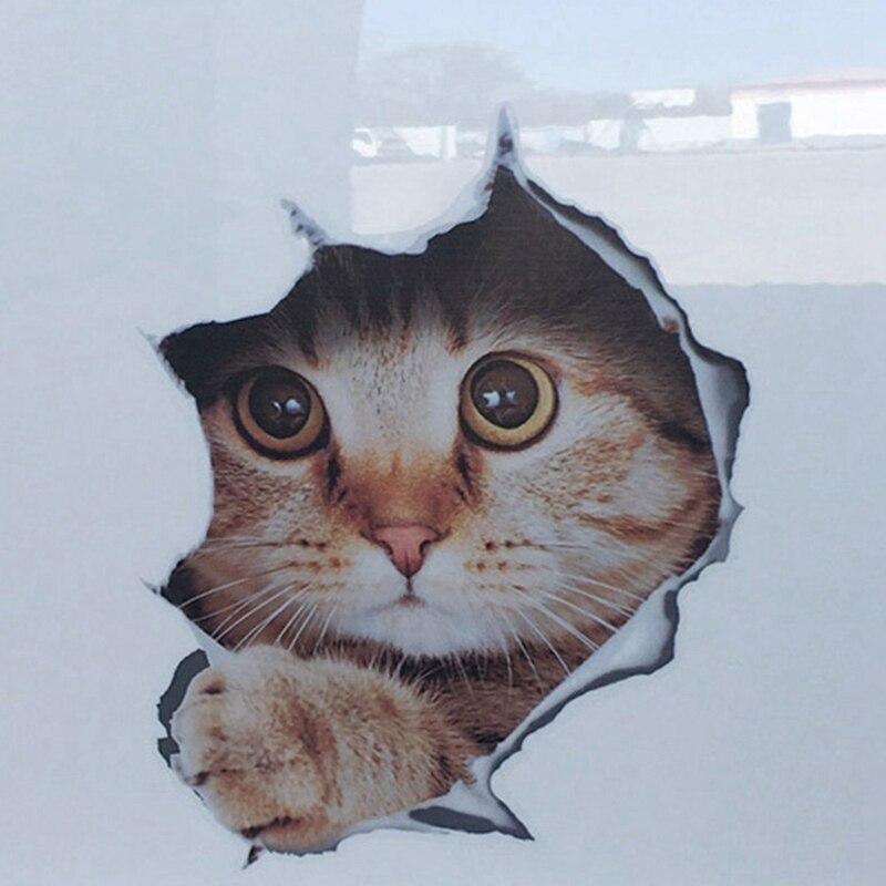 1 pc novo 3d estéreo gatinho bonito carro adesivo capa de arranhões capa capa criativa realista kitty adesivo