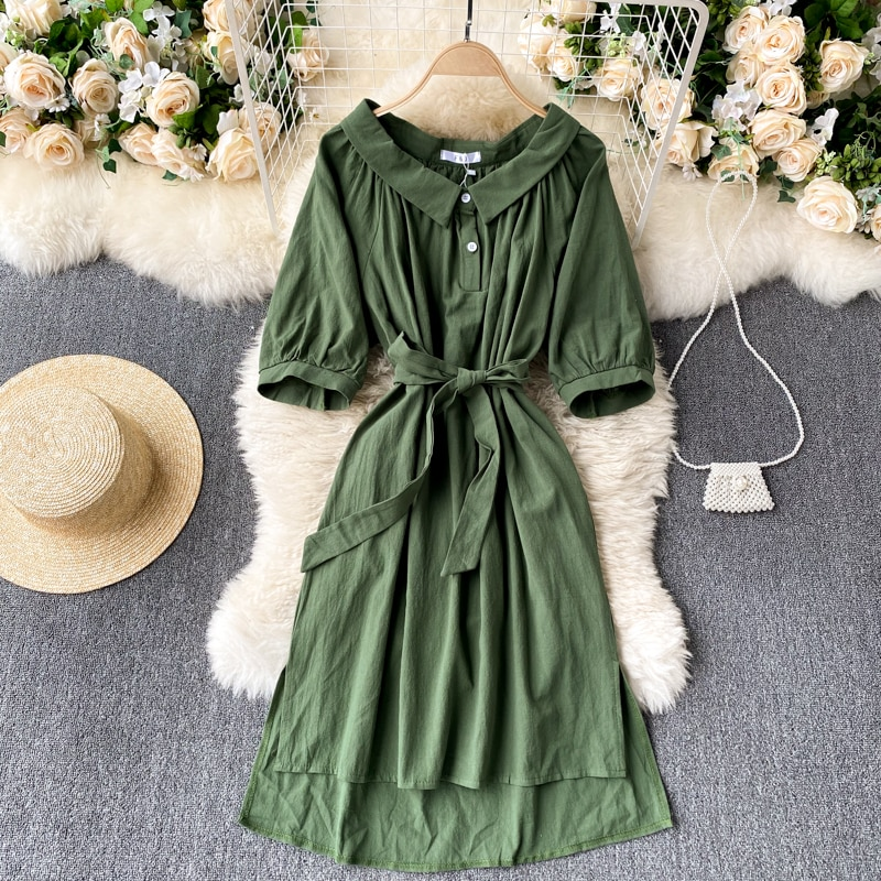 Hong Kong Style Retro 2021 Spring New Dress Doll Collar Lace-up Waist-Controlled Slimming OL Gracefu