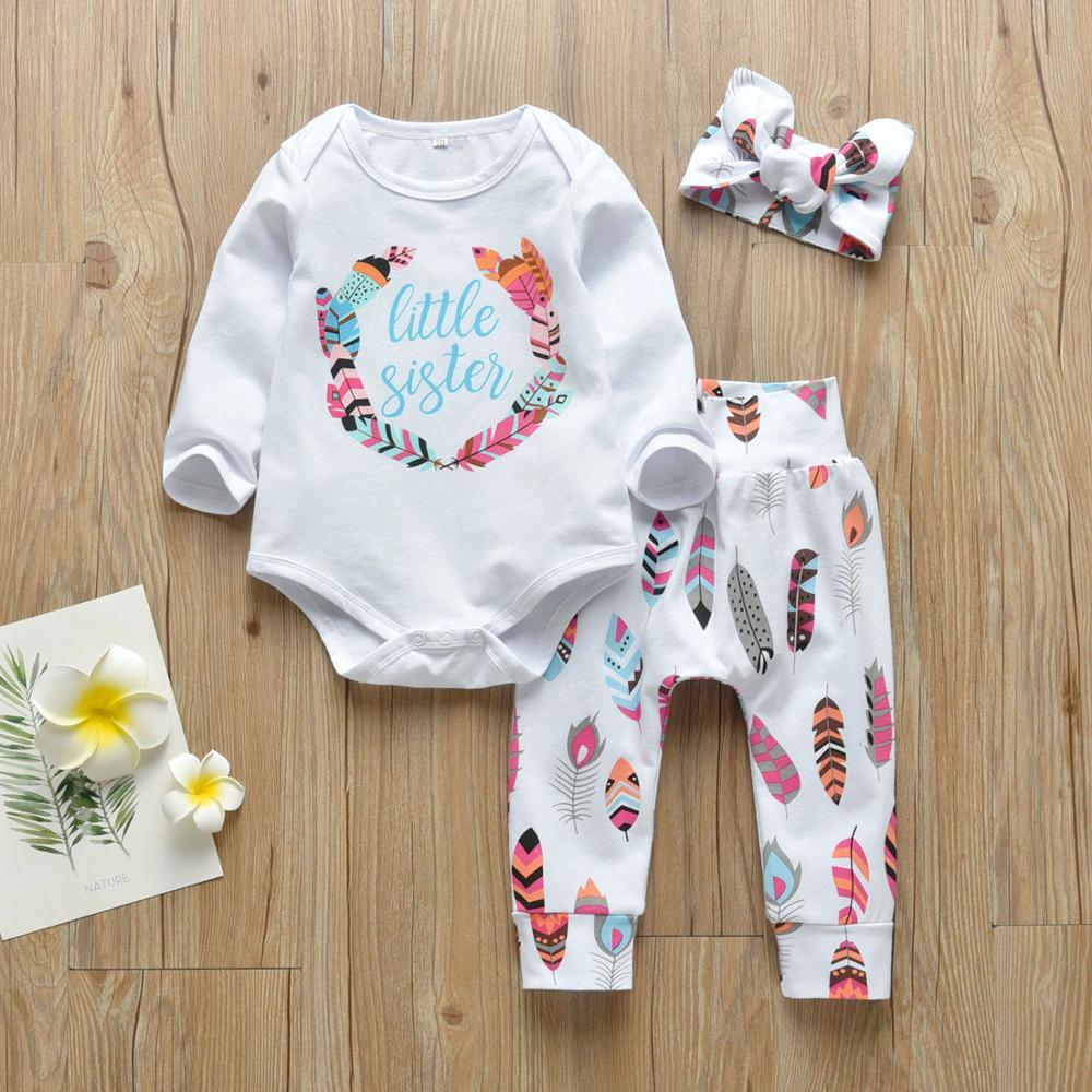 Ropa para recién nacidos, conjunto de 3 uds de ropa para niñas pequeñas, mono informal para hermana pequeña, Tops + Pantalones florales + Diadema con lazo, trajes infantiles