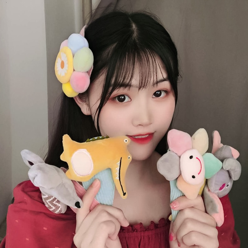 Ins Simple Personality Cute Long Clip Face Wash Bang Clip Cartoon Flower Barrettes Girl's Side Clip