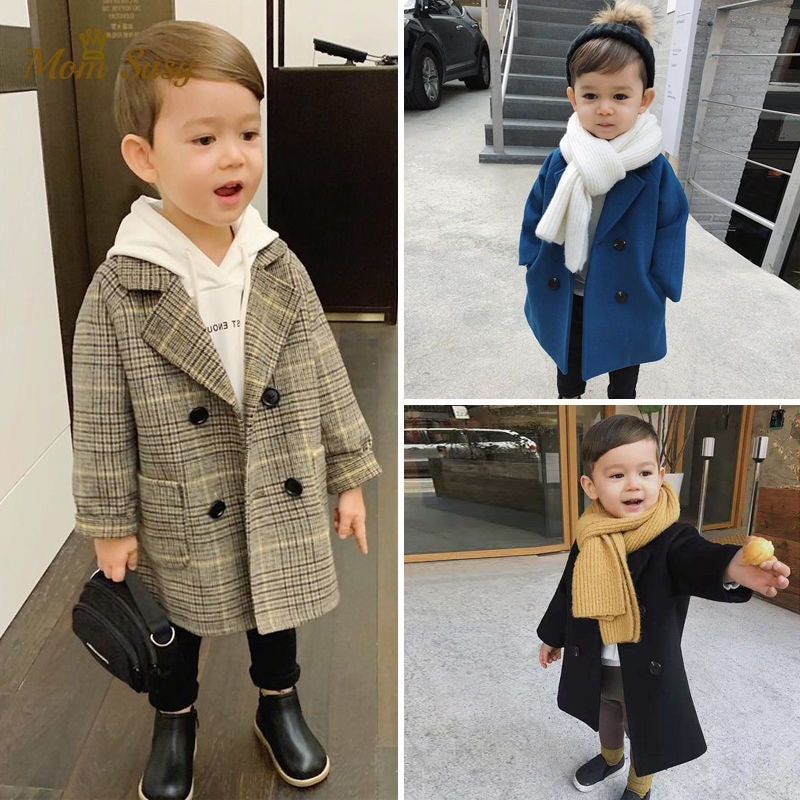Baby Boy Girls Woolen Jacket Long Double Breasted Warm Infant Toddle Lapel Tweed Coat Spring Autumn