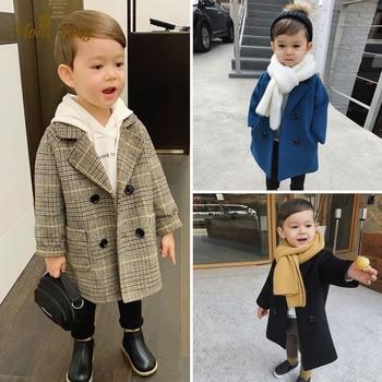 Шерстяная куртка для маленьких мальчиков и девочек; Длинное двубортное теплое твидовое пальто с отворотом для малышей; Сезон весна-осень-зима; Детская верхняя одежда