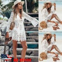 Пляжное платье-туника женское кружевное