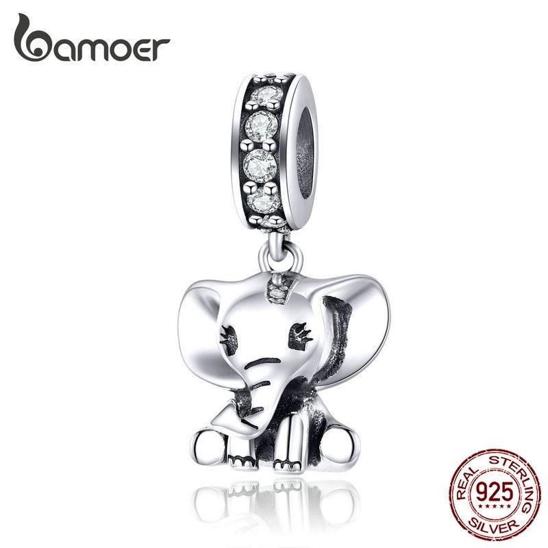 Bamoer слоненок подвеска-Шарм из серебра 925 ювелирных изделий оригинальный браслет ожерелье в виде милых животных Модные украшения аксессуары SCC1338