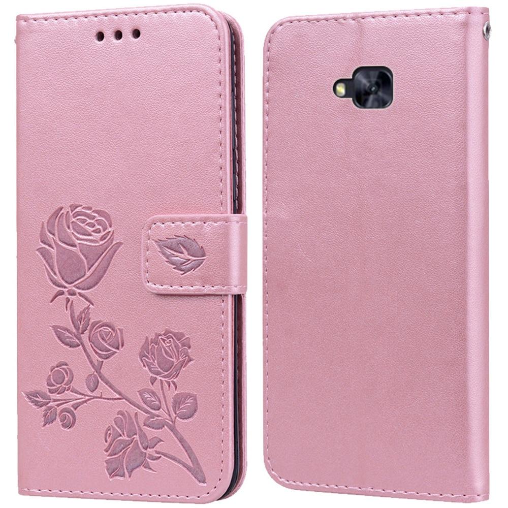 Lujosa Funda de cuero tipo libro con tapa para Asus Zenfone 4 Selfie ZD553KL ZB553KL X00LD X00LDA funda para teléfono con soporte y cartera de flores rosas