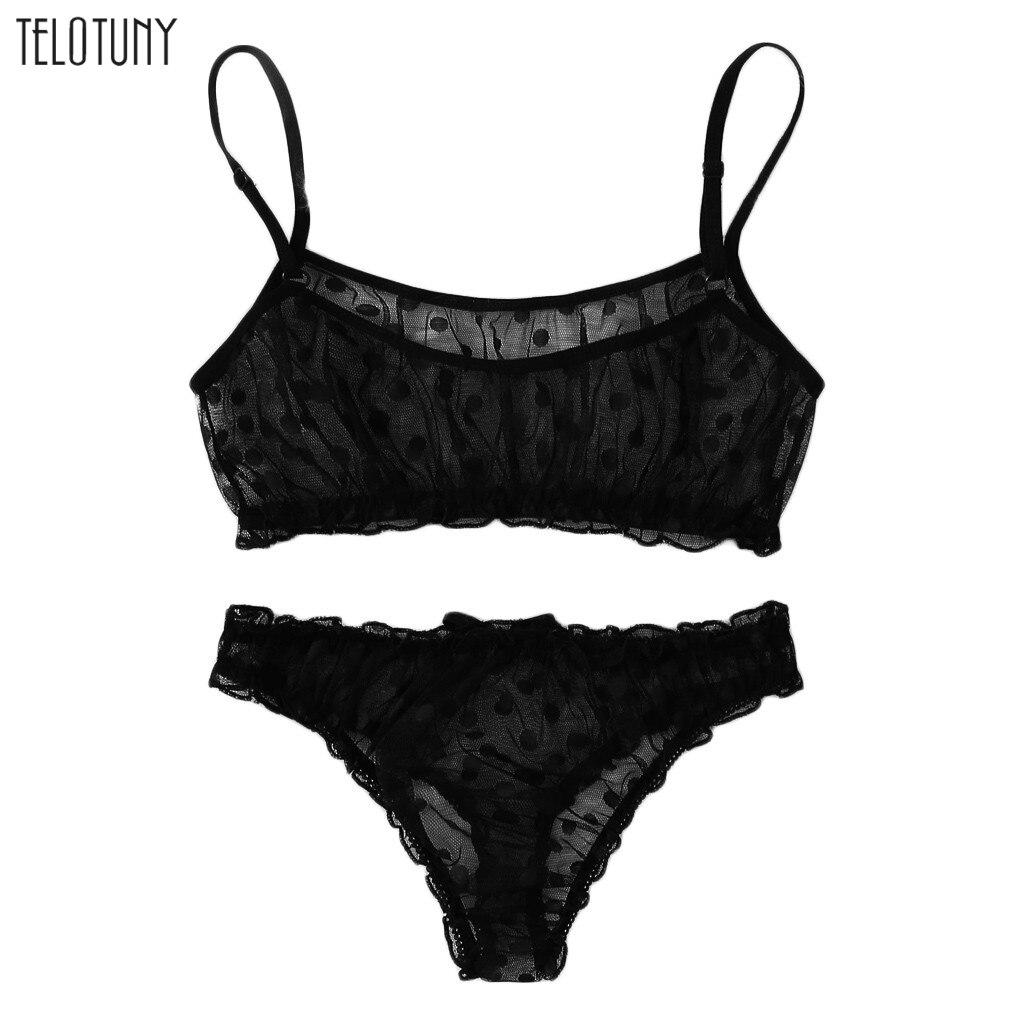 Telotuny novas mulheres sexy dot malha rendas conjuntos de sutiã bowknot cuecas pijamas terno preto vermelho senhoras calcinha lingerie kits S-XL 1029