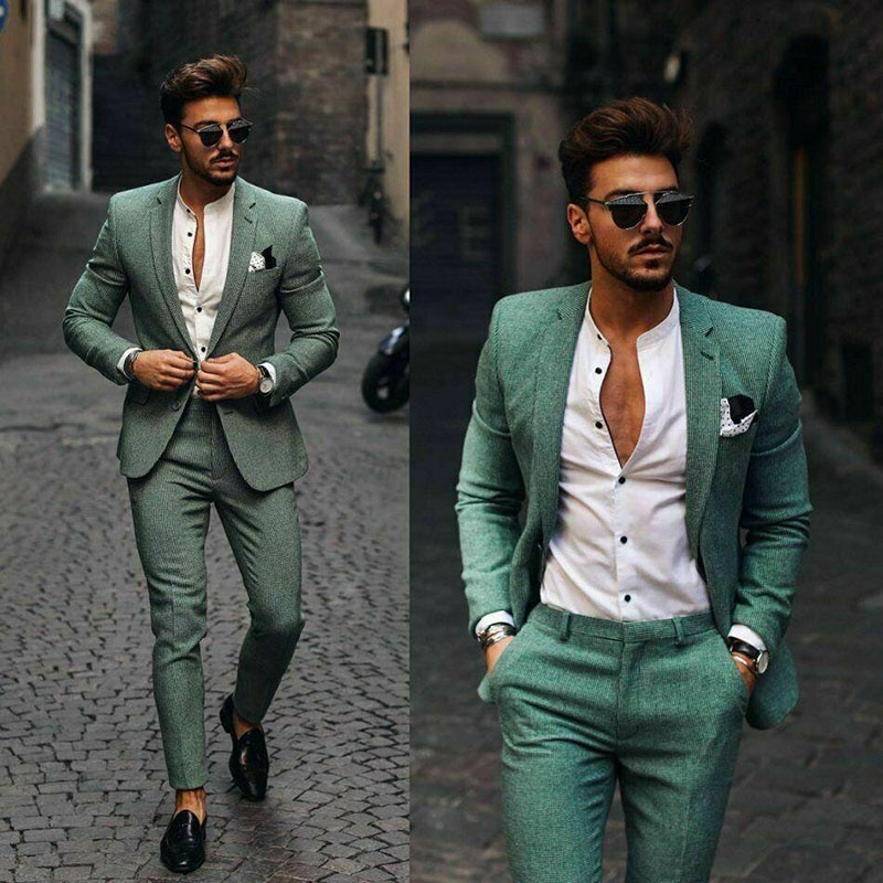 Causal Slim Fit One Button Peaked Lapel Mens Business Formal Prom Tuxedos Best Man Blazer Suit Groom Wear (Jacket+Pants)