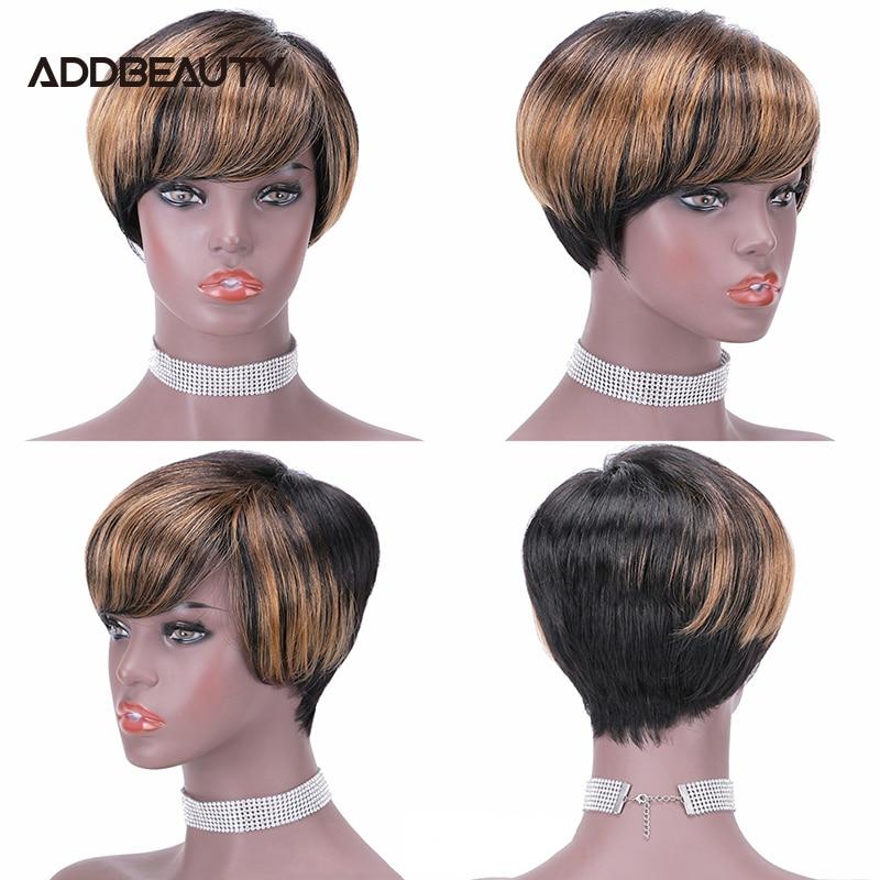 Парик Из прямых человеческих волос с вырезами Фея для женщин, бразильские волосы без повреждений, короткие волосы, машинный парик, естестве...