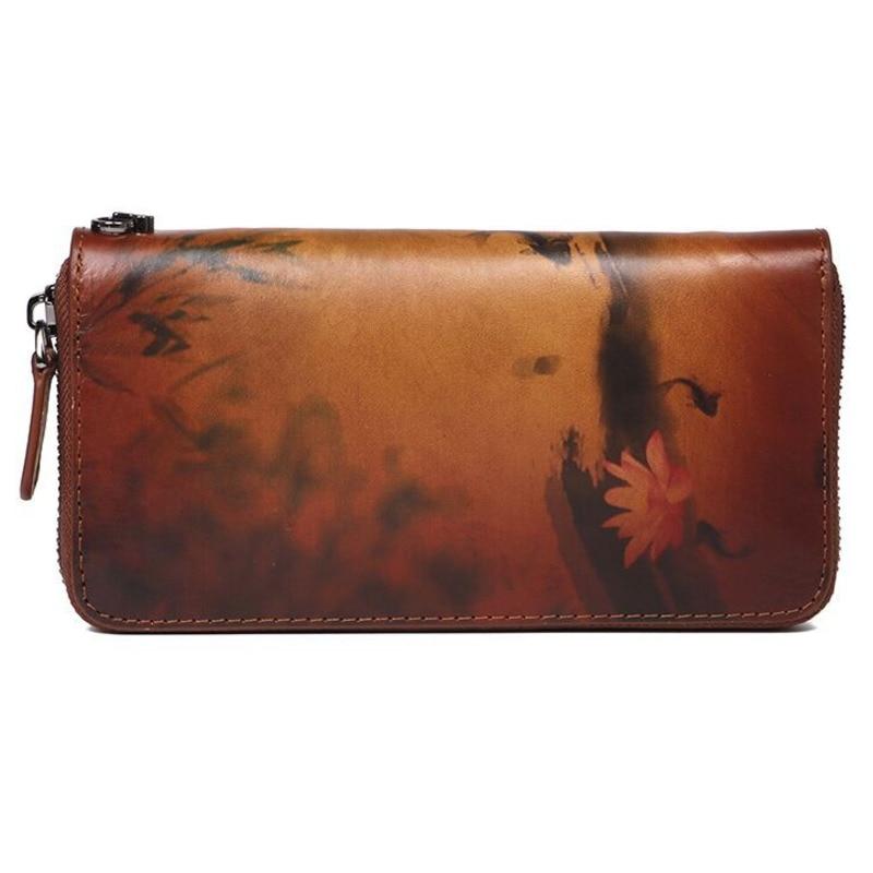 Carteira longa feminina carteiras de couro genuíno polimento moda bolsa camada zíper grande capacidade embreagem carteira luxo