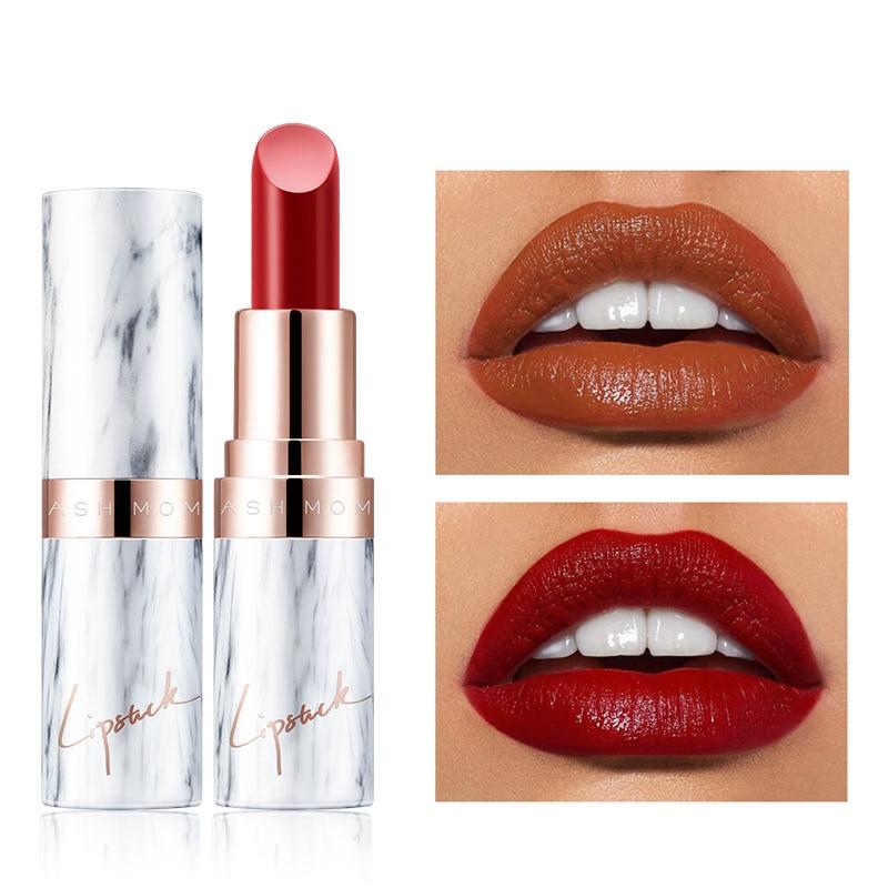 9 Colors Moisturizing Lipstick Velvet Matte Long Lasting Lipstick Marble Pattern Tube Sexy Brown Red Lip Stick Makeup Cosmetics