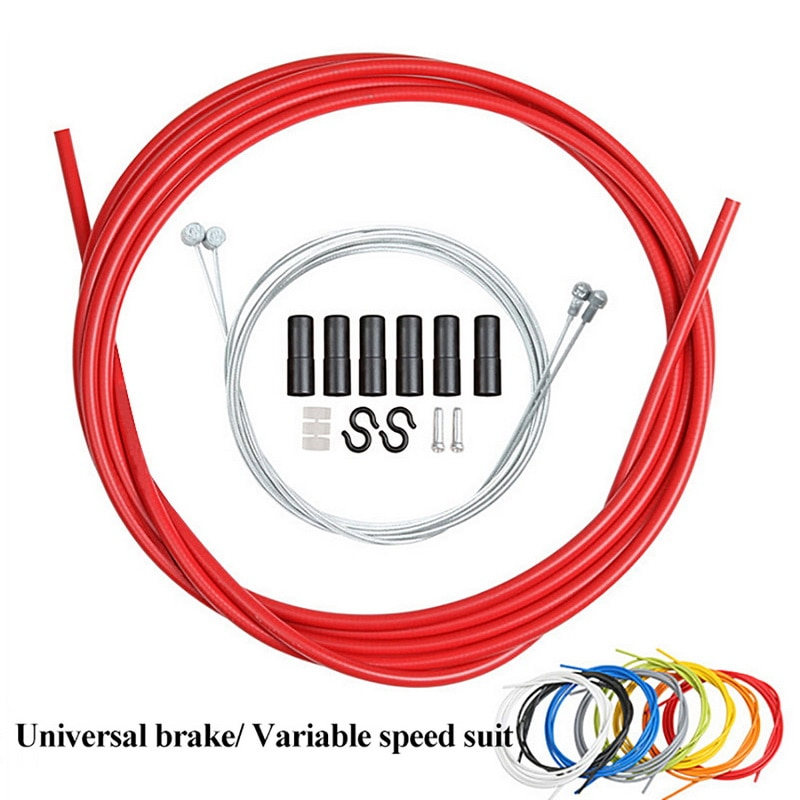 6 IN 1 MTB Road Bike Bicycle Brake Cable Shift Line Set 4mm/5mm Transmission Tube Cables Wire With 2 Caps 2m Variable Speed Pipe