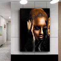 black gold woman waterproof canvas painting sexy model canvas art home decor oil painting posters pictures for living room