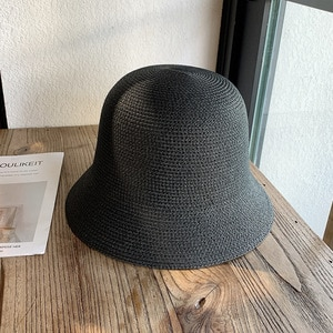 Women Summer Sun Hat Casual Collapsible Bell Straw Hat Solid Beach Hat Outdoor Vacation Sun Protection Lady Hat
