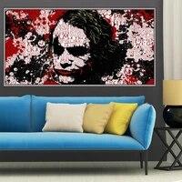 Dessin anime peinture a lhuile blanc visage clown vent fonce art toile peinture salon couloir bureau decoration murale
