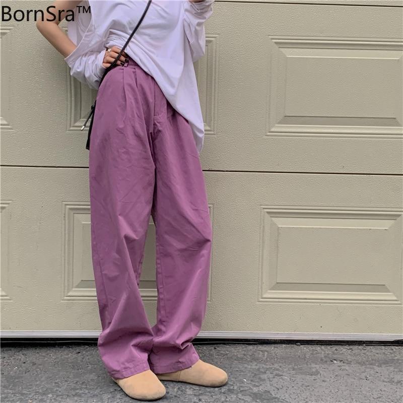 Bornsra 2021  Cotton  Full Length  Spring/Autumn  High Street  Woman Pants  Wide Leg Pants  Loose  B