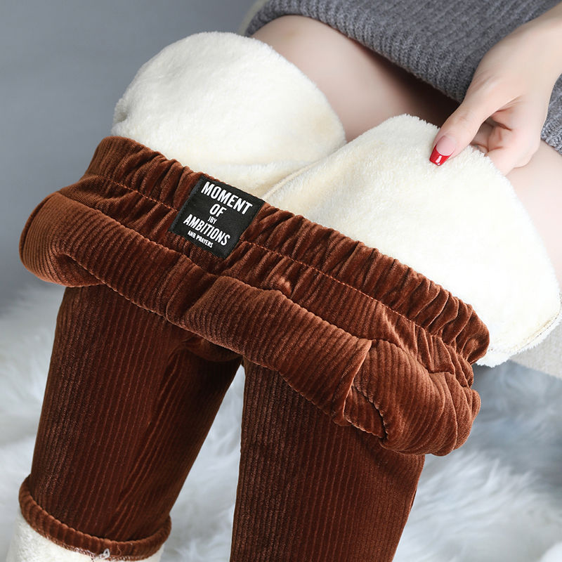 Женские брюки плюс кашемир/брюки без флиса женские осенние и зимние вельветовые утепленные кашемировые повседневные шаровары из ягненка
