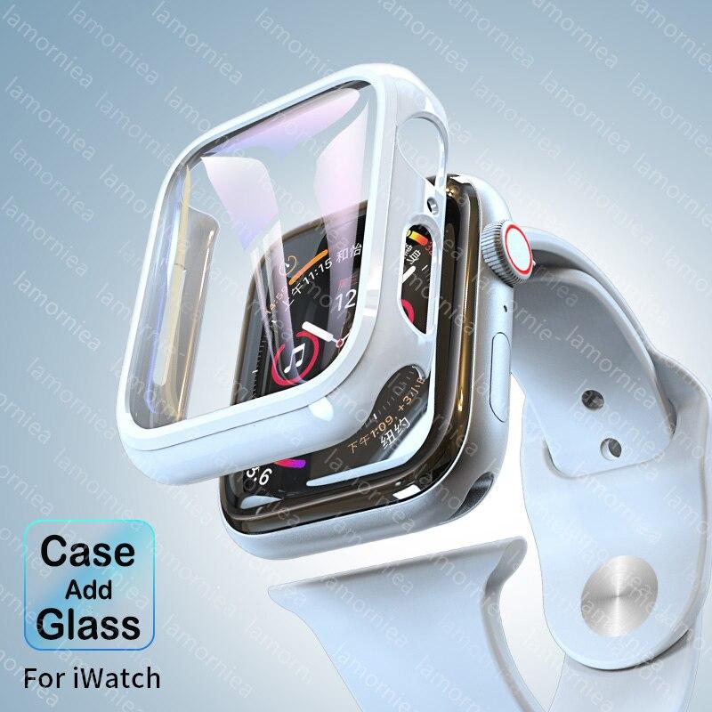 8 colores para Apple Watch Series 5 4 3 funda con Protector de pantalla 44mm Protector Delgado parachoques cobertura completa cubierta dura para iwatch4 40mm