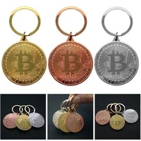 Gold Plated Bitcoin Coin Key Chain Money Souvenir Home Decoration Newest Keyring Pendant Collectible Coin Art Collection Gift