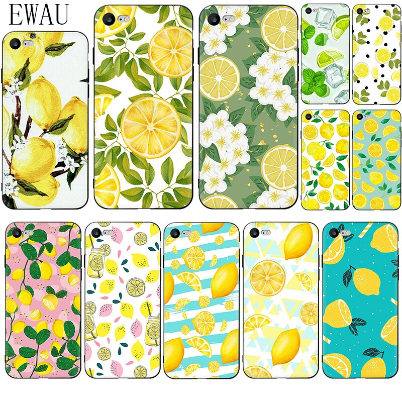Funda de teléfono de silicona EWAU fruta fresca limón colorido para iPhone 5 y 5s SE 6 6s 7 8 plus X XR XS 11 Pro Max