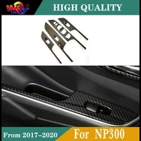 carbon fiber color door window lift cover panel decorator cover fit for nissan navara np300 accessories 2017 2018 2019 2020