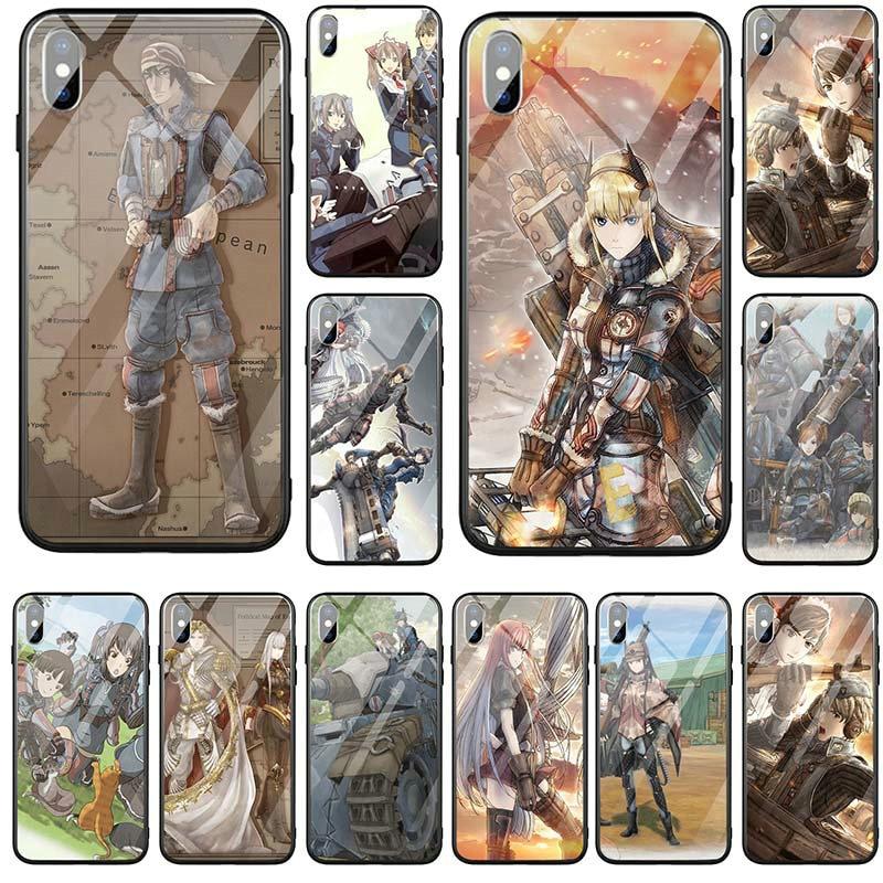 Valkyria Chronicles de templado de vidrio de carcasa para iPhone 6 fundas Funda para iPhone 5 y 5s SE X XR XS Max 6 6 Plus 7 8 Plus 10 nebulosa