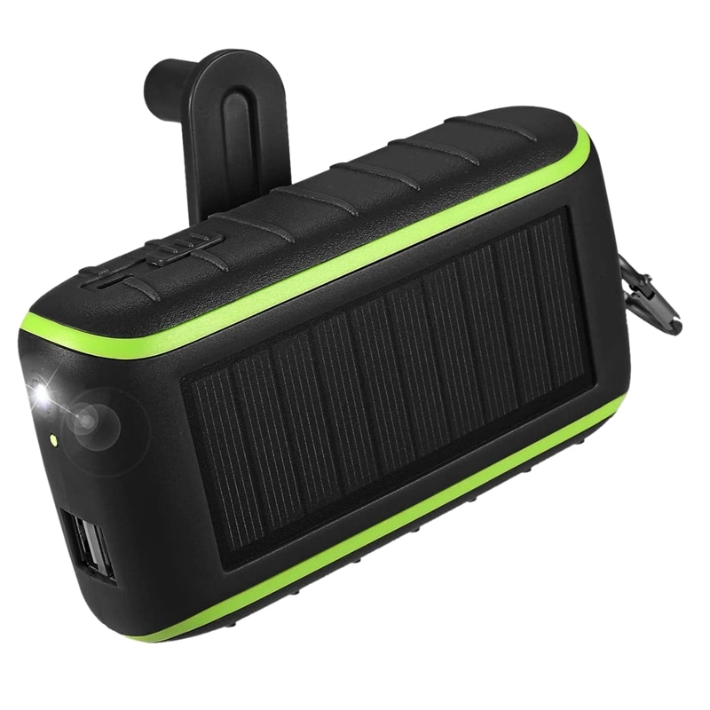 Solar Charger, 10000MAh Portable Hand Crank Phone Charger 2 USB Ports Solar Power Bank with LED Flas