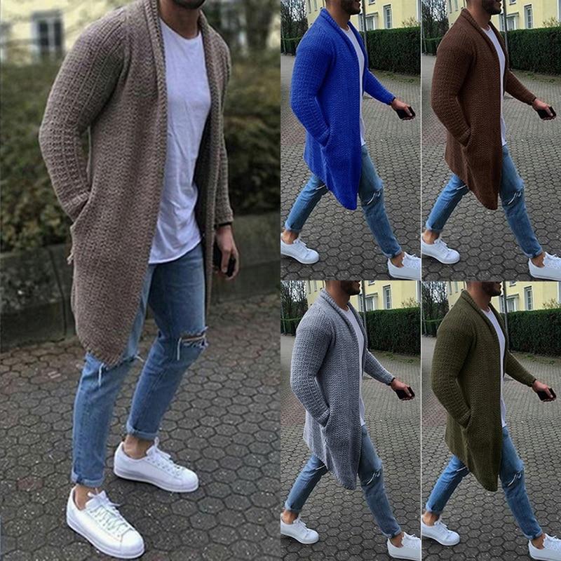 Cardigan masculino manga longa midi camisola casaco com bolso inverno e outono novo casual cor sólida cardigans puxar