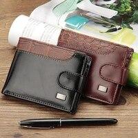 luxury designer wallet for men patchwork leather short wallet casual buckle coin purse brand trifold wallet men clutch money bag