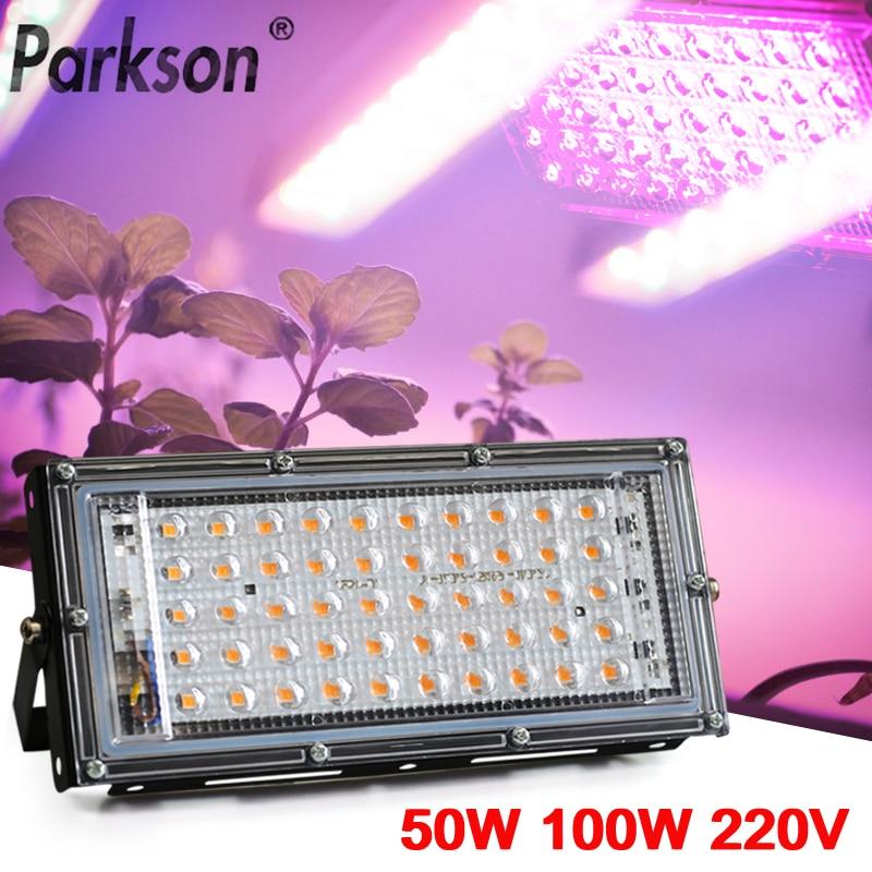 50W 100W 220V Led Reflector de espectro completo lámpara LED para cultivo de plantas proyector Reflector Led para proyector farola de Exterior Led crece la luz