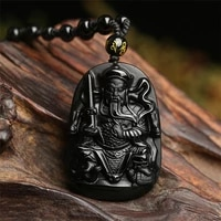 100 natural obsidian daoist zhenwu dadi pendant jewelry fine jewelry anti evil mens and womens crystal necklace pendant