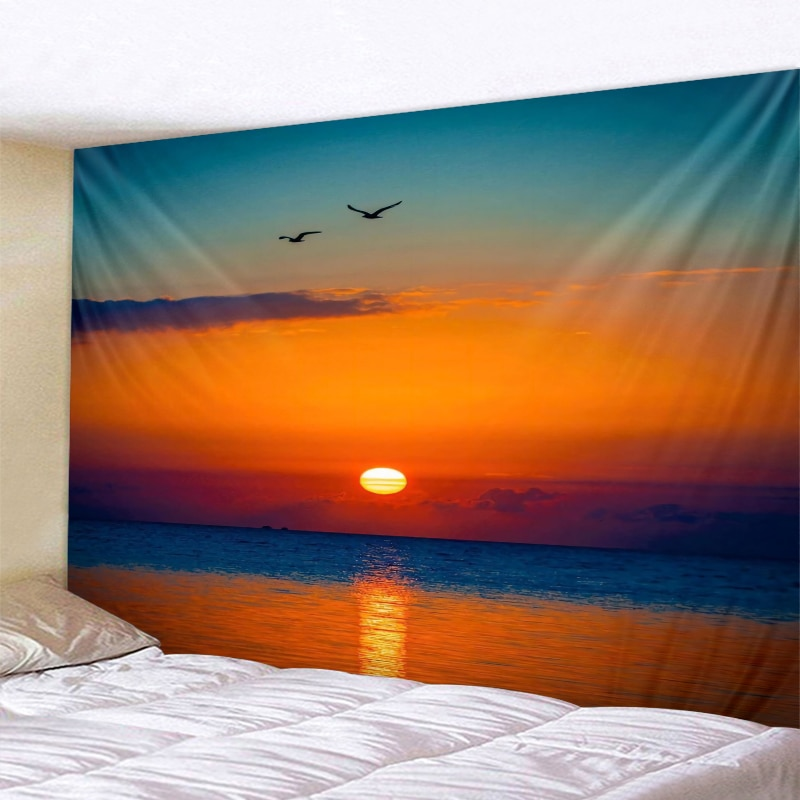 Гобелен с изображением пейзажа восхода и заката, индийский гобелен с мандалой, настенные гобелены в стиле бохо, настенный ковер для спальни,...