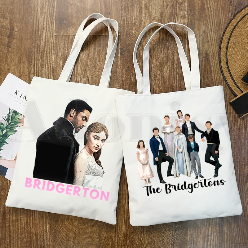 Bridgerton Lady Whistledown Watercolor Artwork Handbags Shoulder Bags Casual Shopping Girls Handbag Women Elegant Canvas Bag