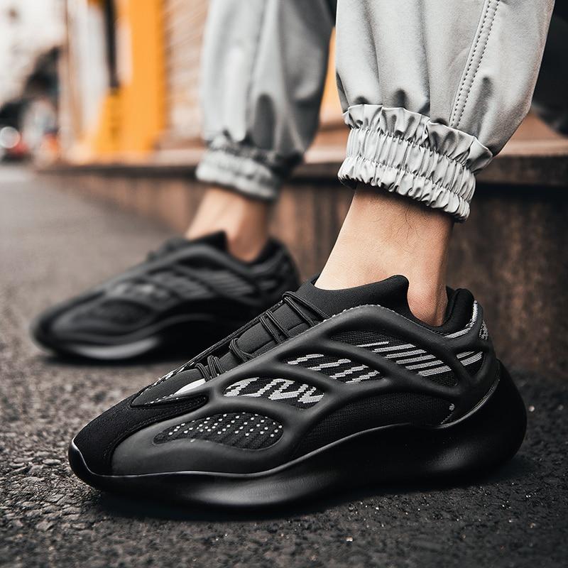 Chaussures décontractées à lacets pour hommes, baskets de sport, de course, de sport, à la mode, plates et respirantes, 2020