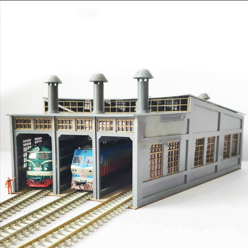 Железная дорога песчаный стол здание старого стиля гараж кольцо Веерообразный гараж локомотив Депот гараж модель
