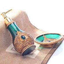 Botella de loción multifunción pintada a mano, bote de jabón líquido creativo para lavar, caja de jabón, dos juegos de accesorios de decoración para baño de resina