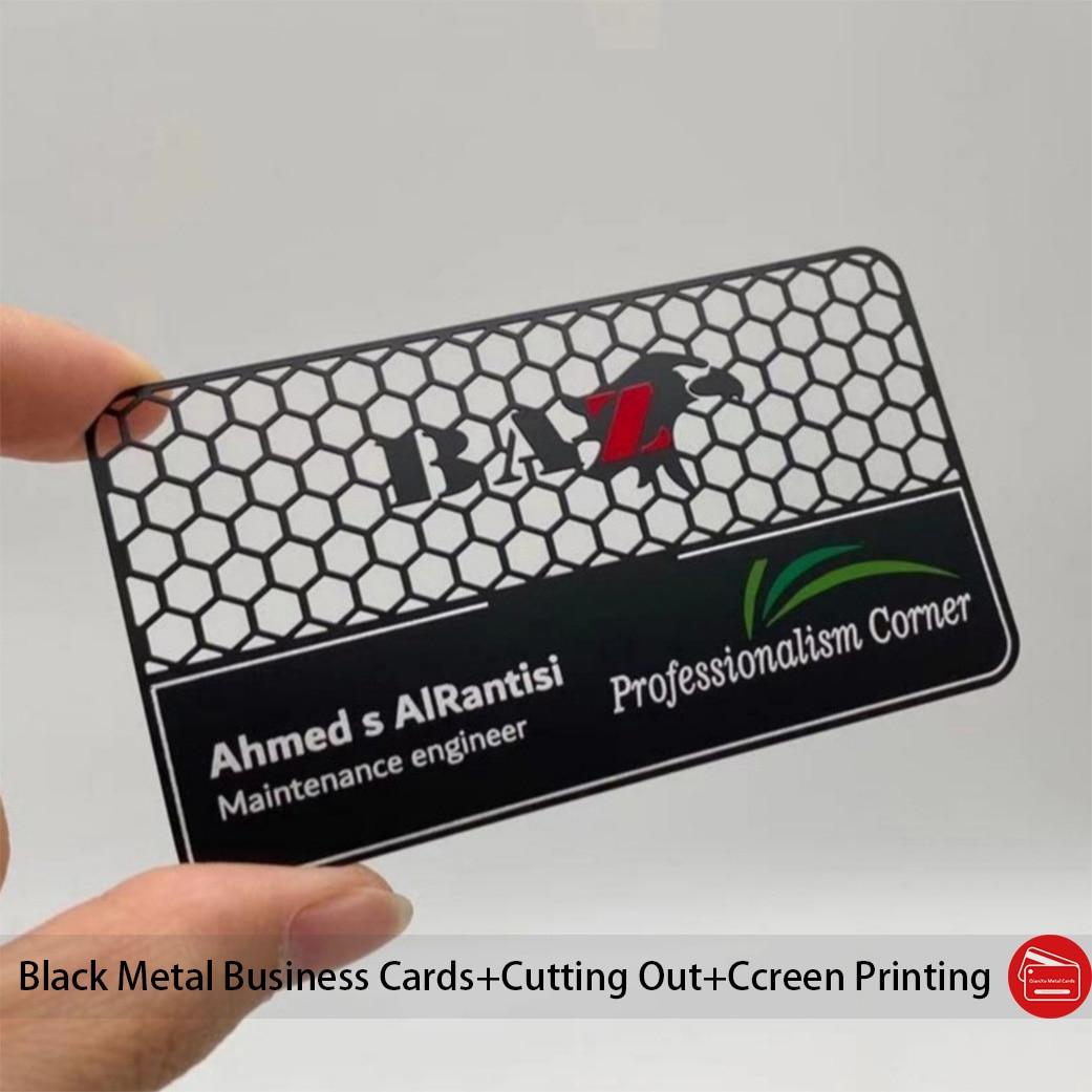 Customized Hollow Out Matt Black Metal Business Cards