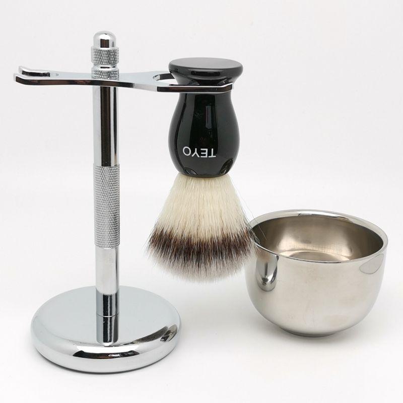 Juego de brochas de afeitar sintéticas TEYO incluyen soporte para cuenco de afeitar perfecto para afeitar en húmedo