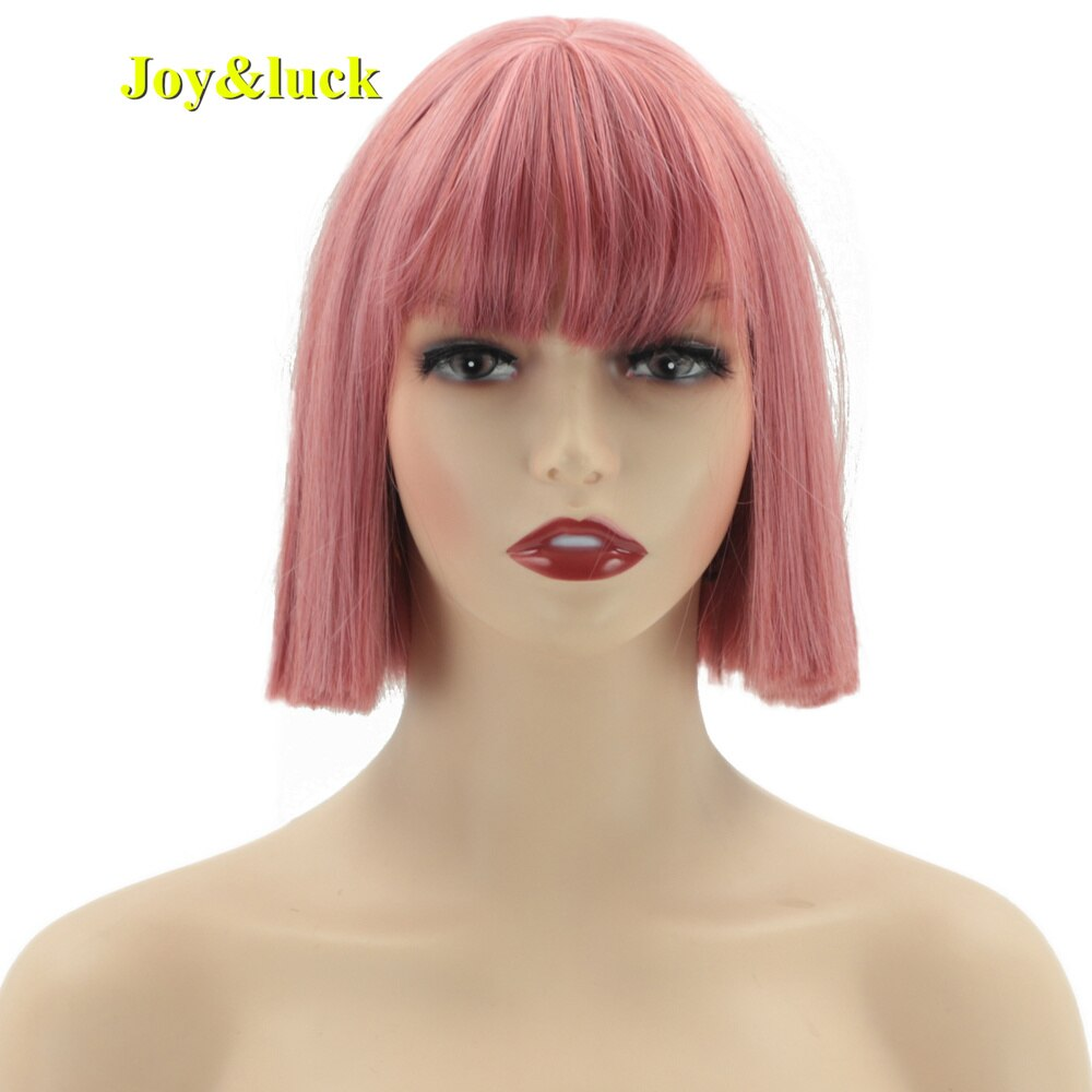 Joy&luck Synthetic Hair Short Bob Straight Pink Cos Wigs With Bangs For White Women Natural Fashion Cosplay Woman Party Use Wig