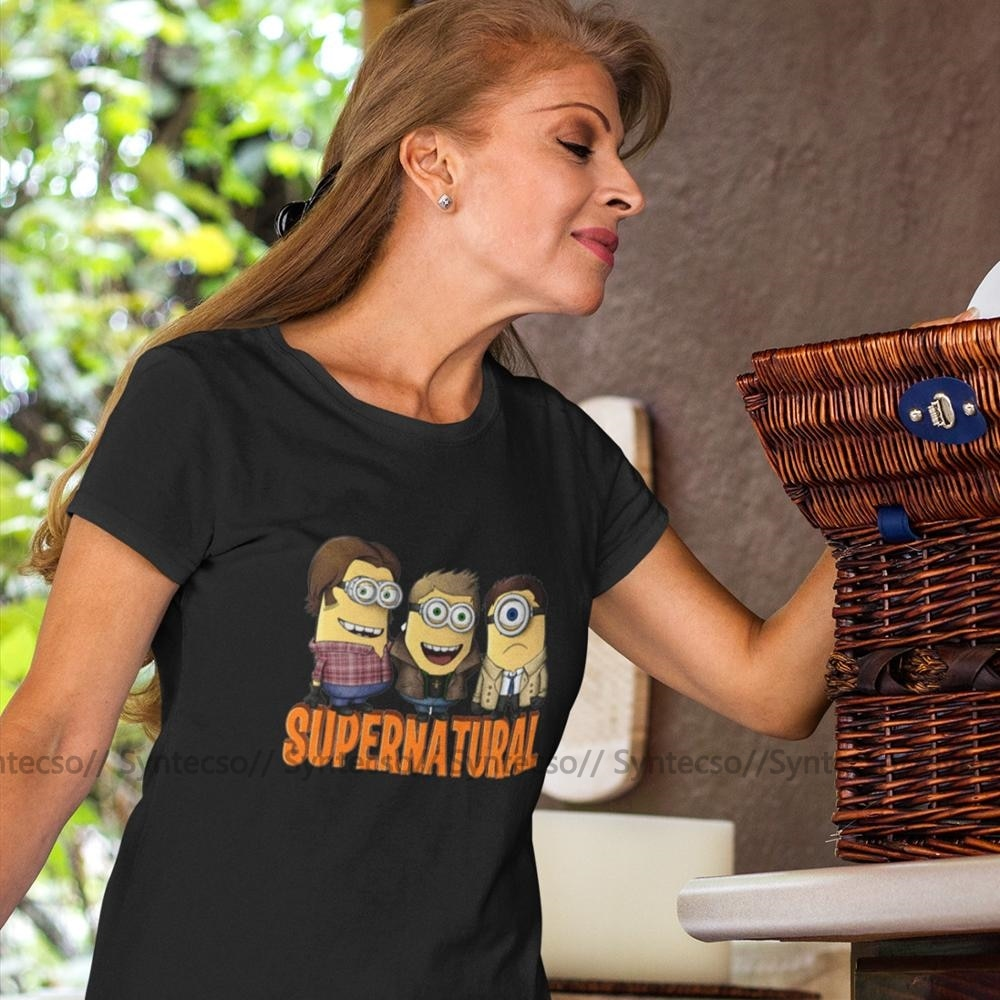 Minion T-Shirt Supernatural Minion T Shirt Kawaii O Neck Women tshirt Pattern Oversized Short Sleeve Red Ladies Tee Shirt