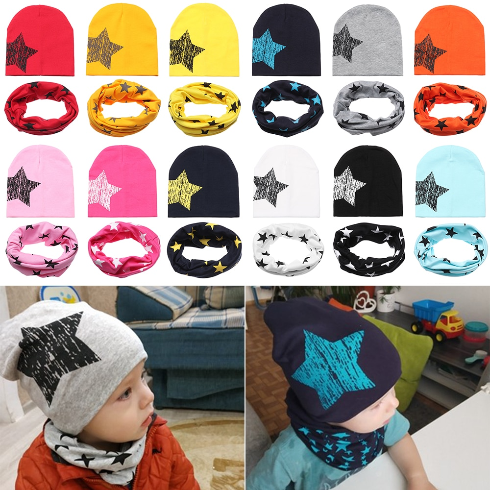 1 Set Baby Cotton Star Hat Scarf Childrens Bib Hat Spring Autumn Two-Piece Boy Girl Print Knitted Beanie Hats Kids Scarf Suits
