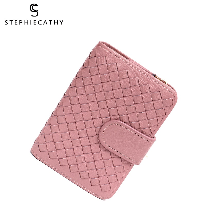 SC Brand Designer Women PU Short Wallet Handmade Woven Vegan Purse Handbag Button Candy Color Functional Cash Photo Card Holders