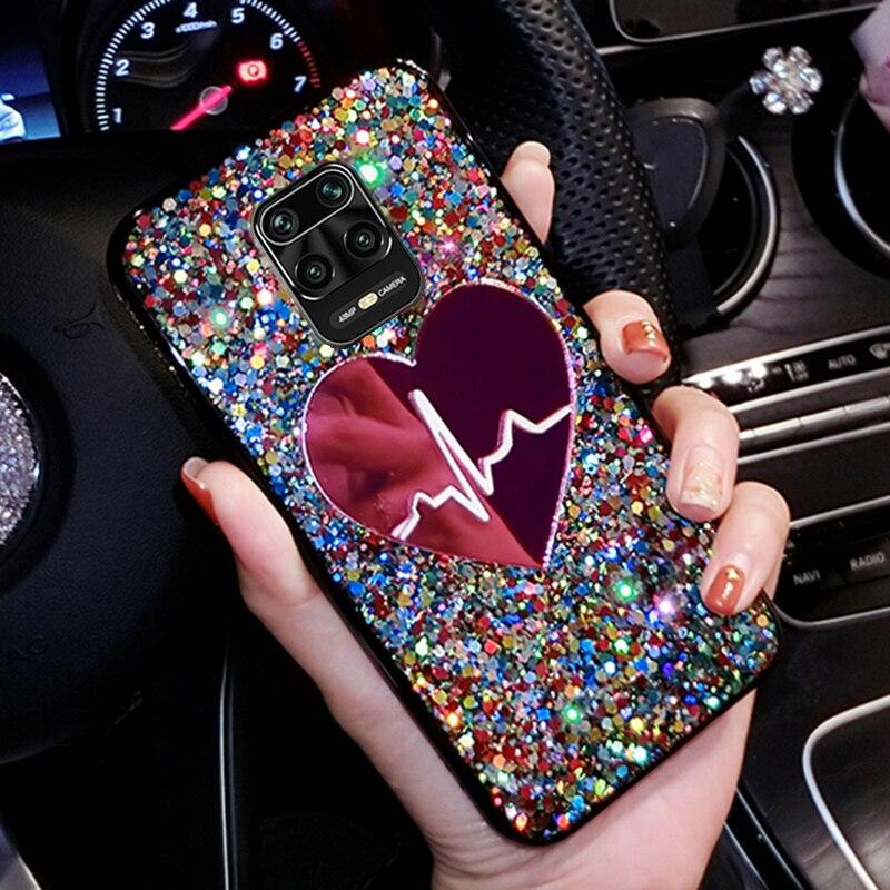 Para Xiomi Redmi Nota 9 Pro Max brillo lentejuelas funda de teléfono para Xiaomi Redmi Note 9 Pro suave cubierta TPU para Redmi Nota 9 Nota 9 S