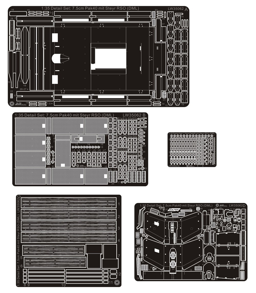 Kits de mejora de detalles 1/35, 7,5 cm Pak 40 Mit RSO para Dragon LW35062