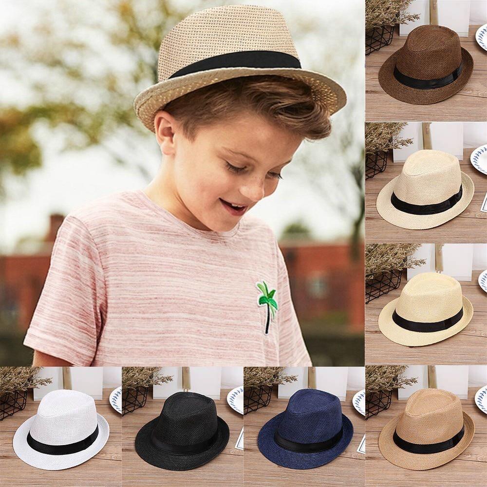 Baby Hats Fashion Summer Casual Trendy Beach Sun Straw Panama Jazz Hats Cowboy Fedora hats Gang ster Outdoor Sunscreen Bonnet