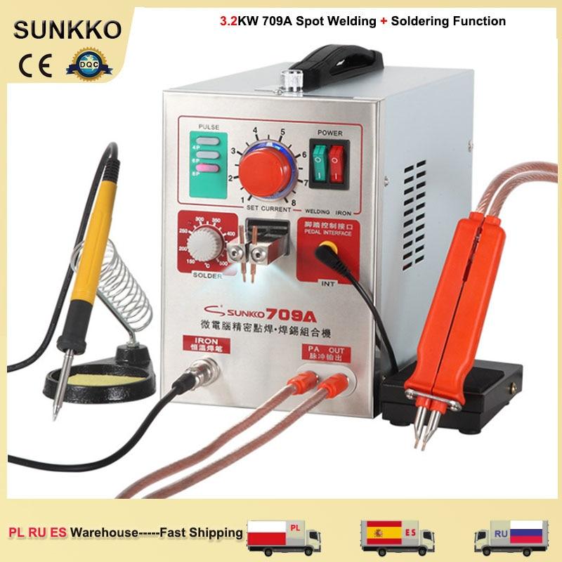 SUNKKO 709A Spot Welding Machine 3.2KW Small Lithium Battery Nickel Strip Spot  Welder Electric Soldering Iron 70B Welding Pen k