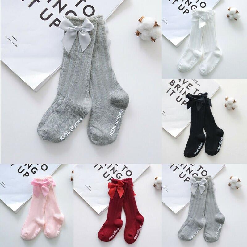 Novo crianças crianças meninas grande arco joelho alto longo macio algodão rendas bebê meias princesa doce vestir-se meias 0-4y