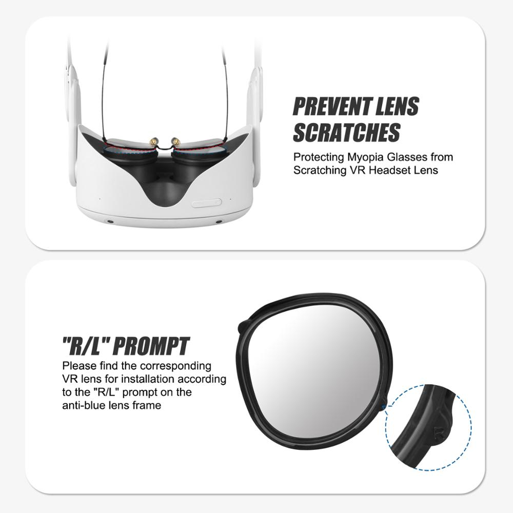 For Oculus Quest 2 VR Magnetic Eyeglass Anti-Blue Lens Frame Quick Disassemble Clip Lens Protection For Oculus Quest 2 Glasses